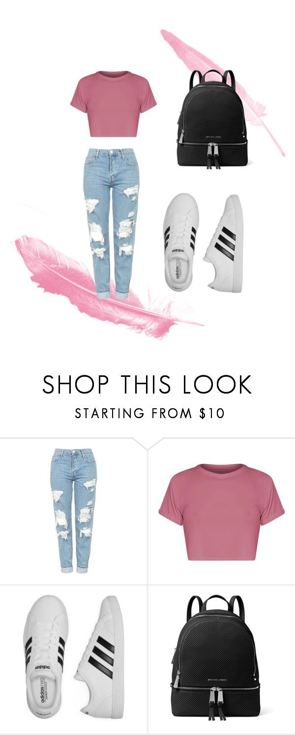 🎒🎒 by anne-maren-weisser-fredriksen on Polyvore featuring BasicGrey, Topshop, adidas and MICHAEL Michael Kors