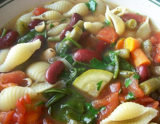 Copycat Olive Garden minestrone soup, it tastes just like the original! I like to substitute potatos for the noodles.