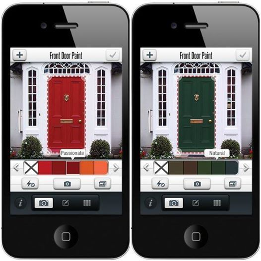 Tips & Tools for Choosing the Perfect Front Door Color | Free Front Door Paint app: Open the app, snap a pic of your front door and instantly see the look of your new front door with our Front Door Paints! Available for both iPhone and Android #frontdoormakeover #frontdoorpaint #diy