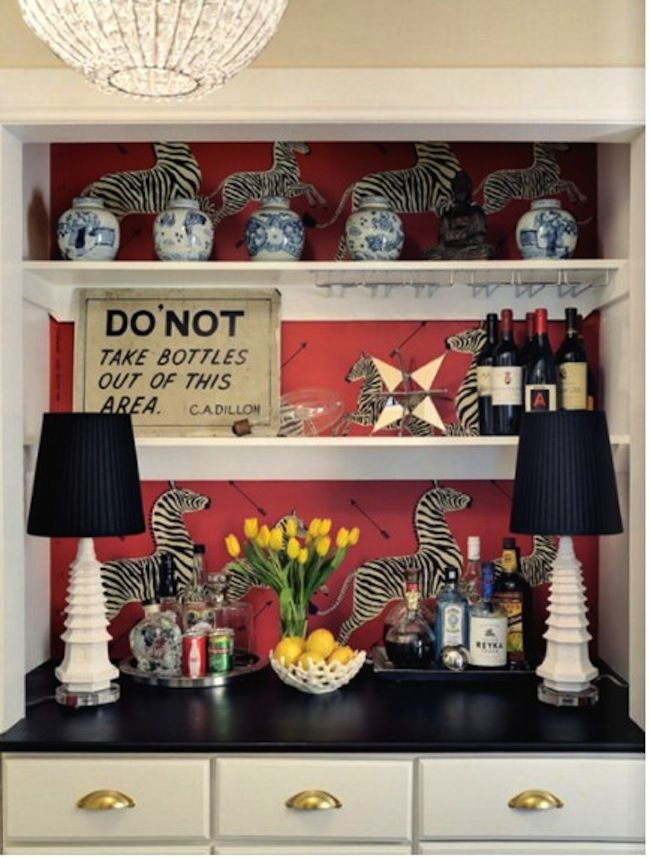 Colorful home bar with Scalamandre's Zebra paper - Jamie Meares
