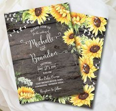 Sunny and bright, this beautiful rustic sunflower wedding invitation suite features artful, hand-painted golden yellow sunflowers on an authentic wood photo background. Posh Papers own bead decoration and ornate greenery complement the playful design. Part of our Signature Watercolor Collection, you will delight your guests with this unique, whimsical announcement for your country or rustic wedding theme. This invitation can be easily converted to a chalkboard or bridal shower invitation as…