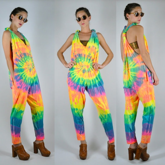 VTG 80s Tie Dye Rainbow Harem Jumpsuit Onesie by ...