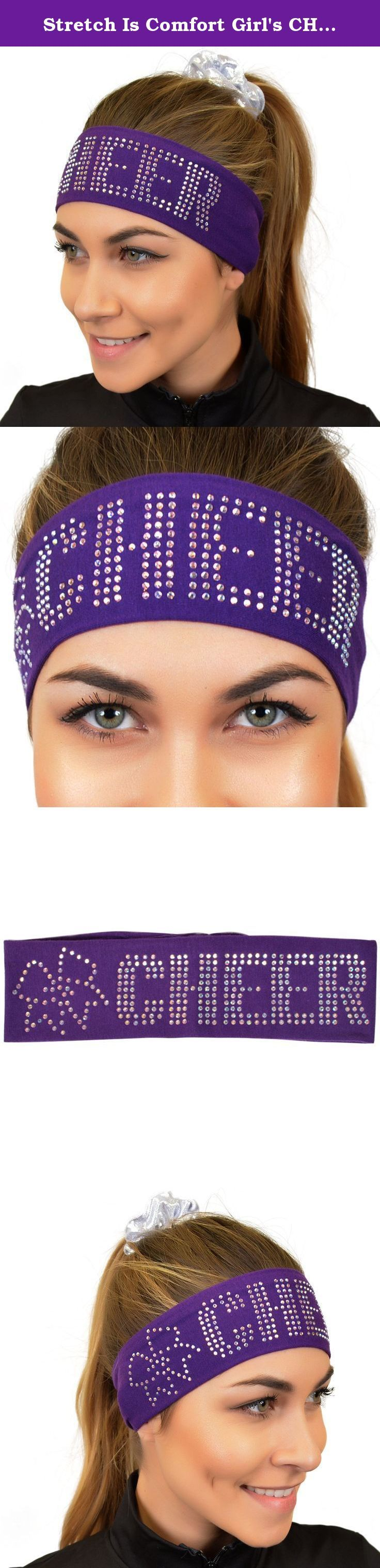 Stretch Is Comfort Girl's CHEER Rhinestone Wide Cotton Headband Purple. Don't sweat, Sparkle! Our soft, four-way stretch cotton headband is adorned with over 300 premium, glistening rhinestones. Show your Cheer spirit on the floor and off in this comfortable, tailored-fit headband made to stand out. Also features a crystal rhinestone cheer bow! Will fit ages 4 to adult. Wash with like colors, tumble dry low. 95% Cotton /5% Spandex.