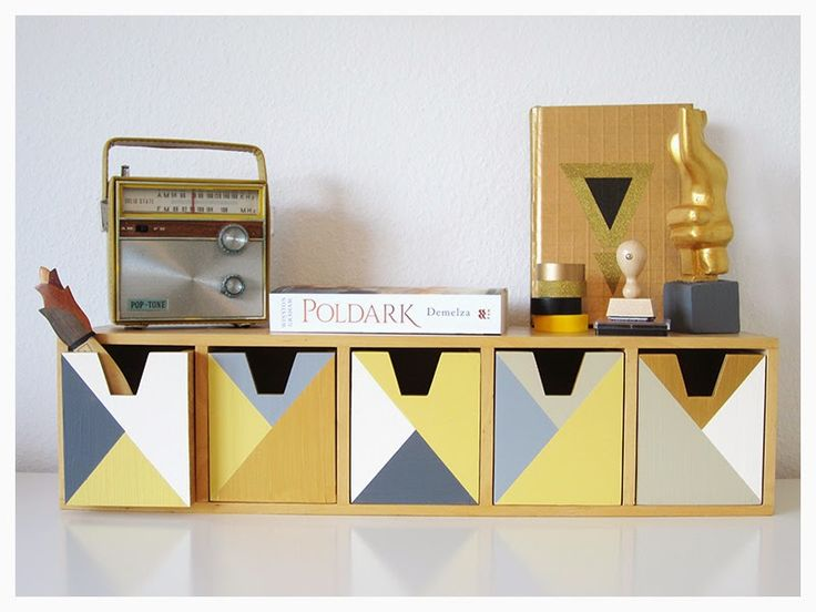 DIY IKEA Hack | paint a wooden organizer in your favourite colours - geometric style, of course :)