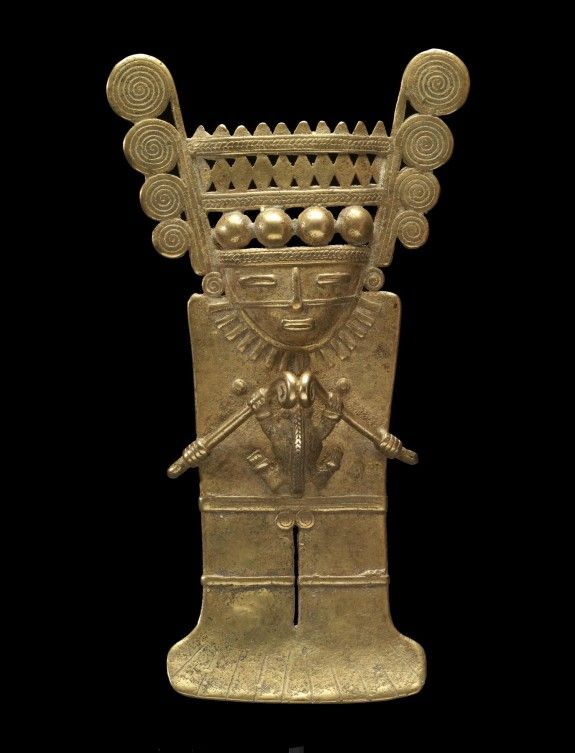Human Effigy Pendant,Ancient America's. North western Colombia,gold 600 AD.