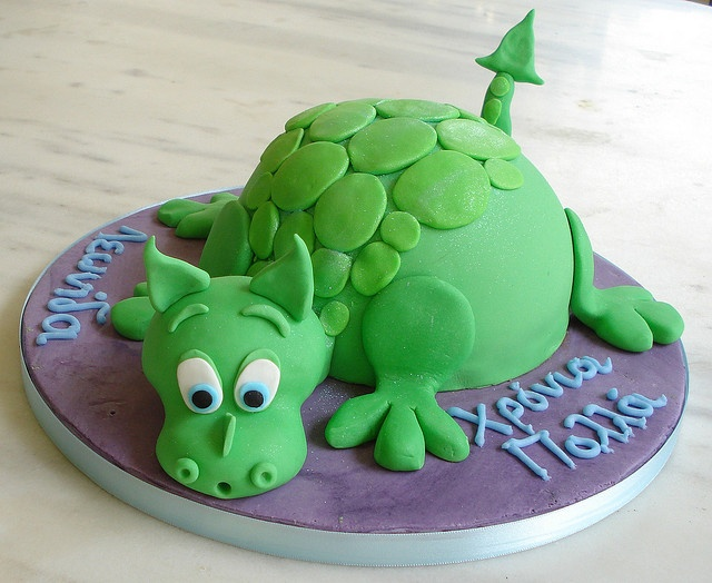 This dragon cake has Greek on it. :) I should know what it says, but apparently a month off equals forgetting everything.