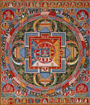 Mandala of Jnanadakini, late 14th century, Tibet (a Sakya monastery). Distemper on cloth. Purchase in 1987. The artist is anon. The style of this mandala is like Nepal's.  This mandala is a palace seen from above. It is presided over by a female Buddha, Jnanadakini. She has 6 arms & 3 heads. She sits on a lion throne. 4 female guardians sit in the doorway of the gates. Sakya Pandita in the center, a Kagyu teaching lineage runs to the left from Pandita, Kadam teaching lineage runs to the…