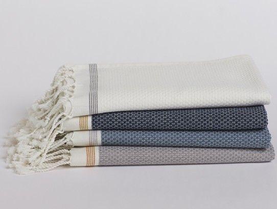 Mediterranean Bath Towels - white with grey stripe for master bathroom?