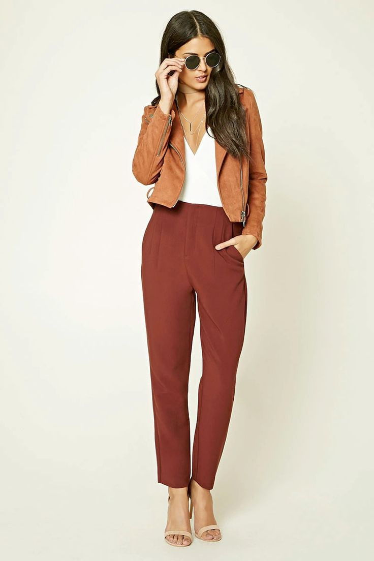 Forever 21 Contemporary - A pair of tapered woven trousers with a high-waist fit, slanted front pockets, mock back pockets, a zip fly, and vertical stitched accents along the waist.