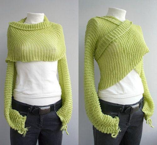 iKnitts: Patron para tejer a dos agujas   Bolero Wrap en Mohair verde