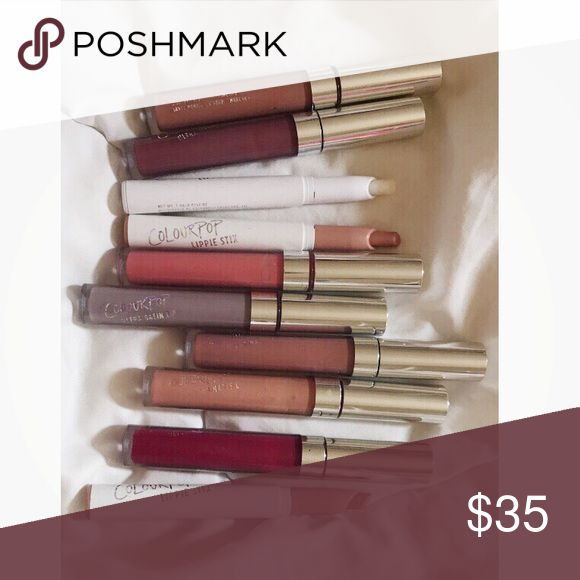 Colourpop matte/creme lipsticks Beautiful shades of Colourpop matte liquid/creme lipsticks. Suitable for all occasions! Some are used a few times/swatches. One unused moisturizing lip primer is included! 💋💄 shades in the set: skimpy, platform, teeny tiny, trap, marshmallow, she bad, magic wand, donut, clear lip primer, and a hot pink shade(the name on sticker fell of, apologize!) Colourpop Makeup Lipstick