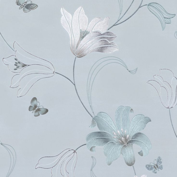 duck egg blue wallpaper | Muriva Couture Amelia Floral Vinyl Wallpaper - 701412- Duck Egg - Cut ...