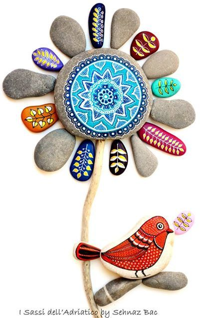 RESERVED *for Valeria* Hand Painted Stone Mandala