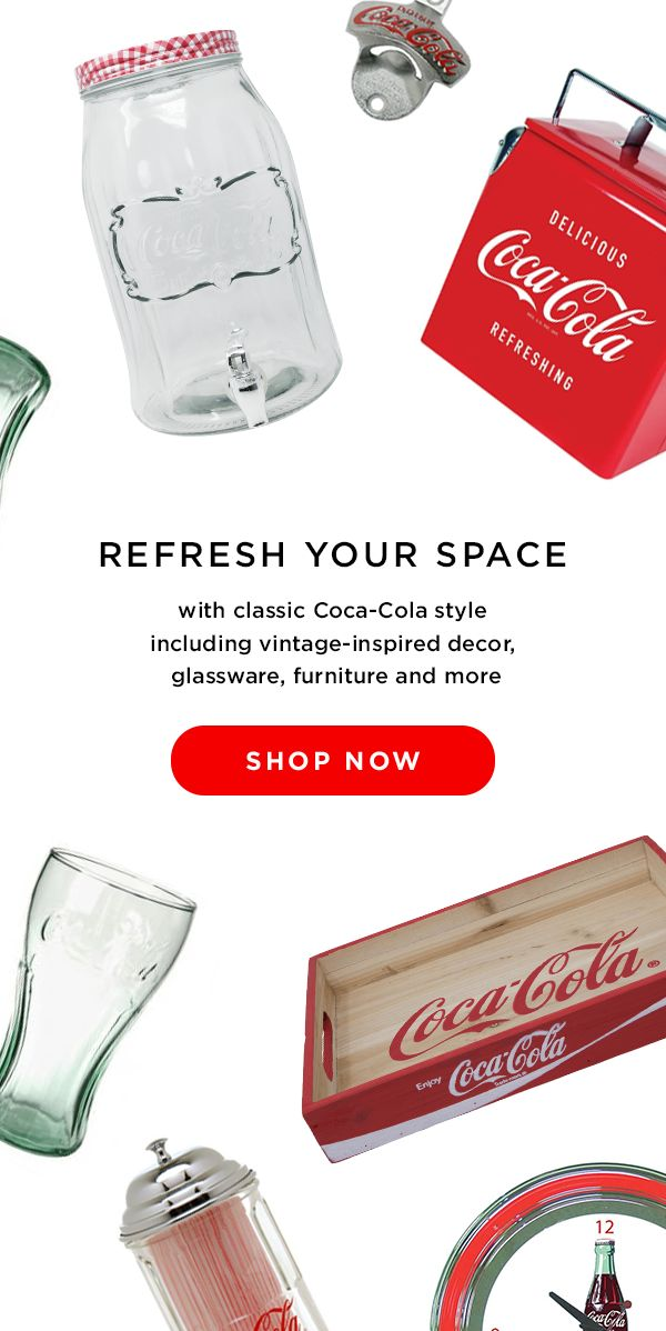 Bring that classic Coca-Cola style into your home with vintage-inspired decor, furniture, housewares, kitchen goods and more!