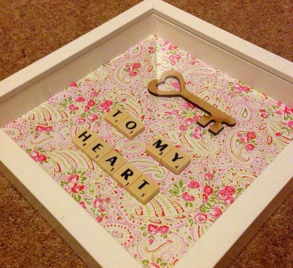 key to my heart valentines scrabble art frame. range by Waystosay