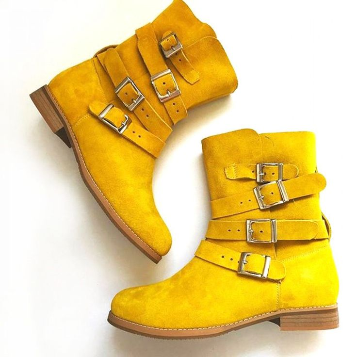 Ghete din piele naturala #yellow #boots