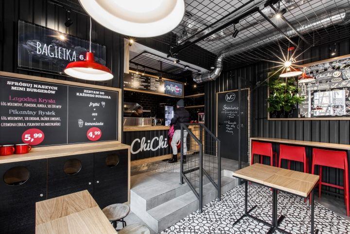Дизайн кафе быстрого питания: интересное цветовое решение