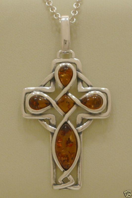 AMBER IRISH CELTIC CROSS PENDANT NECKLACE 22 INCH CHAIN 925STERLING SILVER WOMEN