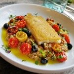 Brödstekt kolja med linsrisotto och torkade oliver - Saltå Kvarn