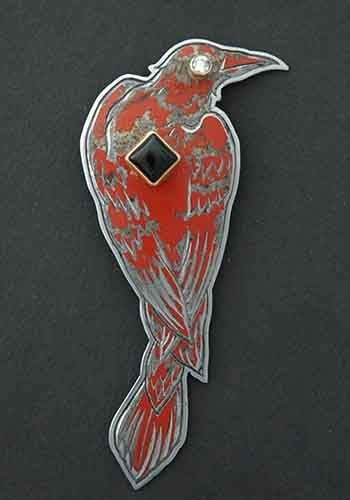 """Kit Carson, """"Perched Raven"""" Brooch made from 1964 Sears and Roebuck Craftsman Toolbox, magnetic clasp, diamond eye (0.12CT, VVS2, H color) mounted in 18k gold, 6x6xmm square mounted in 22k gold."""