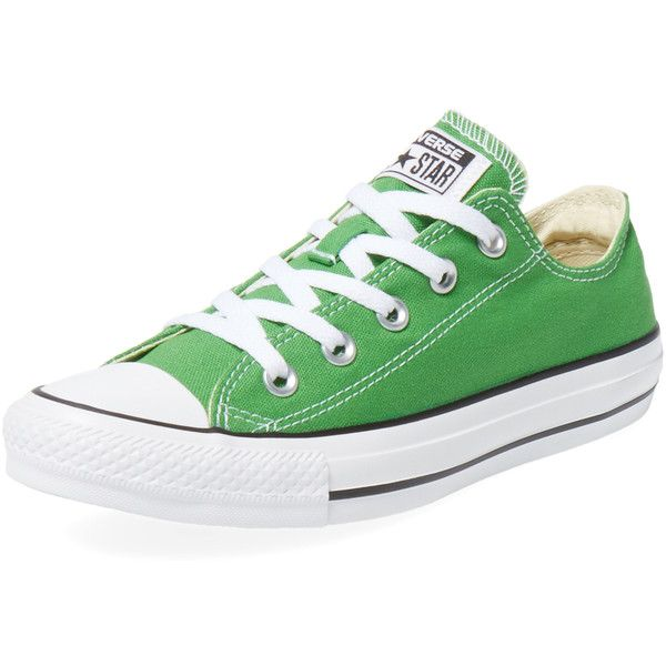 Converse Chuck Taylor All Star Low Top Sneaker ($35) ❤ liked on Polyvore featuring shoes, sneakers, green, lace up shoes, converse footwear, lace up sneakers, converse sneakers and converse trainers