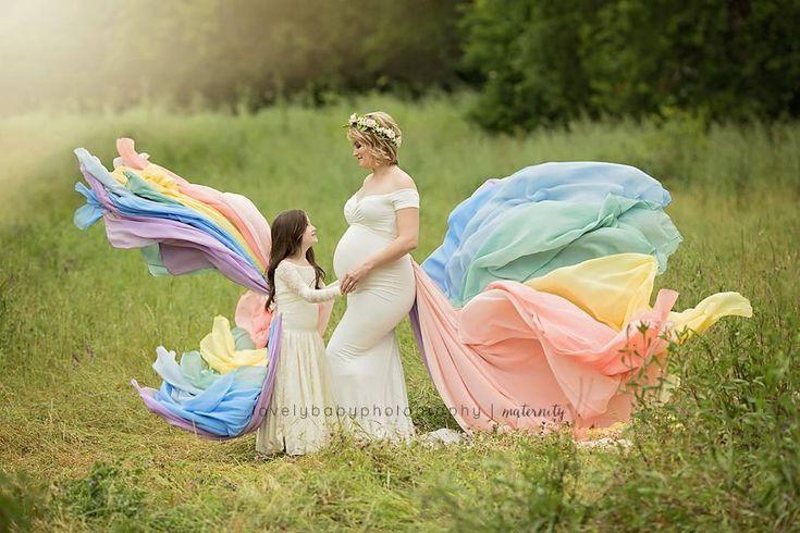 Rainbow Detachable Girls Tossing Train • Rainbow Baby Pastel Train • Chiffon Detachable Train • Maternity Gown Train • Maternity Dress Train • Wedding Train • Photo Session Gown Train • by Sew Trendy