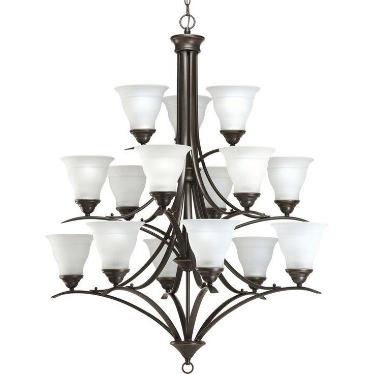 Progress lighting trinity fifteen light three tier chandelier with etched antique bronze indoor lighting chandeliers