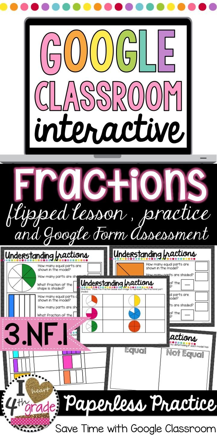 Fractions for 3rd Grade. Understand Fractions with a Flipped Lesson, Google Classroom Interactive, and Google Form.  Aligned to CCSS 3.NF.A.1.  If you are looking for Google Classroom ideas, Google Classroom Elementary, Google Classroom Math resources look here!