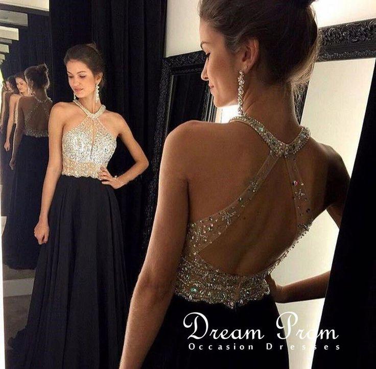 Stunning Beaded Sequins Long Black Chiffon Prom Gowns,Evening Dress – Cara Mitchell