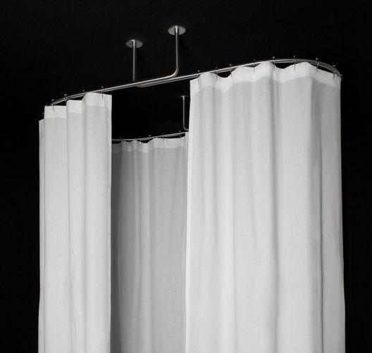 Cabine de douche textile ovale galbotwins avec rideaux de douche en lin blanc - Sylvie thiriez rideaux ...