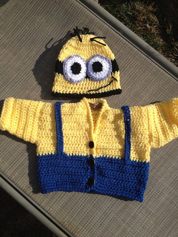 Minion Knitting Pattern Jumper : Baby Minion Sweater and Hat Set your choice Awesome ...
