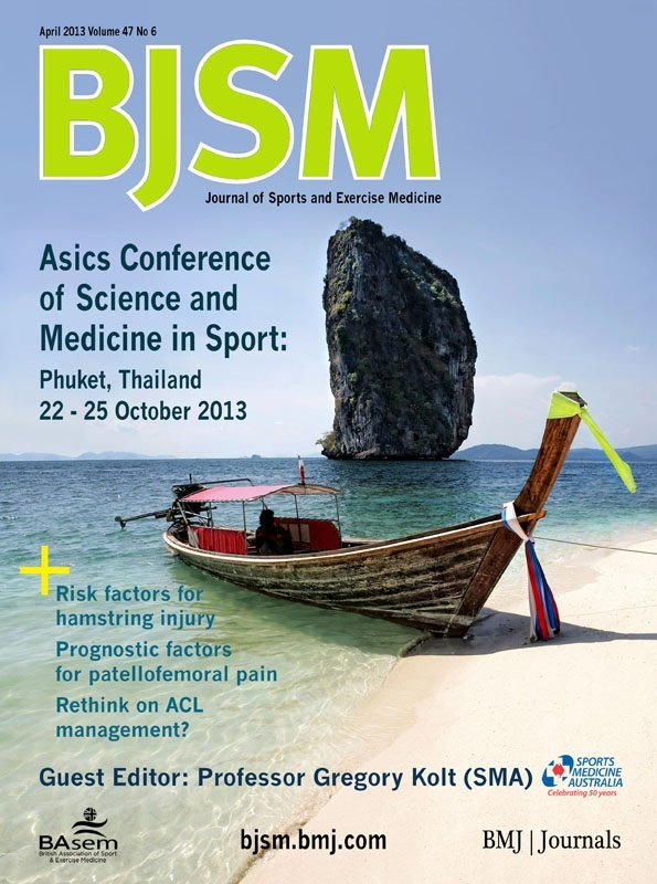 BJSM Volume 47 Issue 6 | April 2013 ~ Sports Medicine Australia is proud to present the 2013 Asics Conference of Science and Medicine in Sport (ACSMS). This is an event you don't want to miss! Join us at the Hilton Arcadia Resort & Spa in Phuket, Thailand, 22 – 25 October 2013.  The Asics Conference is a multidisciplinary meeting held annually for professionals with an interest or a specialisation in sports medicine, sports science, physical activity promotion and sports injury prevention.