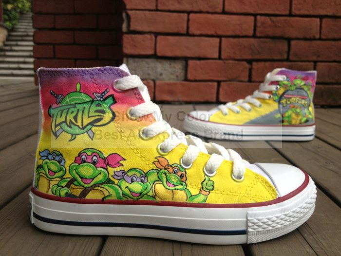 bc9d707cc3c1 TMNT Teenage Mutant Ninja Turtles Hand Painted Shoes for Kids Girls Boys  canvas sneaker  99.99