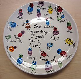 Teacher gift plate with owls made from fingerprints.