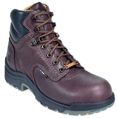 Timberland PRO Boots: Women's TiTAN 53359 Brown Steel Toe Waterproof Boots These steel toe boots are made with beautiful mocha brown leather in natural full-grain looks and feels like butter, for breathable comfort for the gal on the go. The waterproof leather and water-resistant membrane keeps moisture where it belongs - outside of your safety toe shoes. Timberland's TiTAN construction is specially designed for a superior fit and long-wearing comfort. This is one of Timberland's lightest!