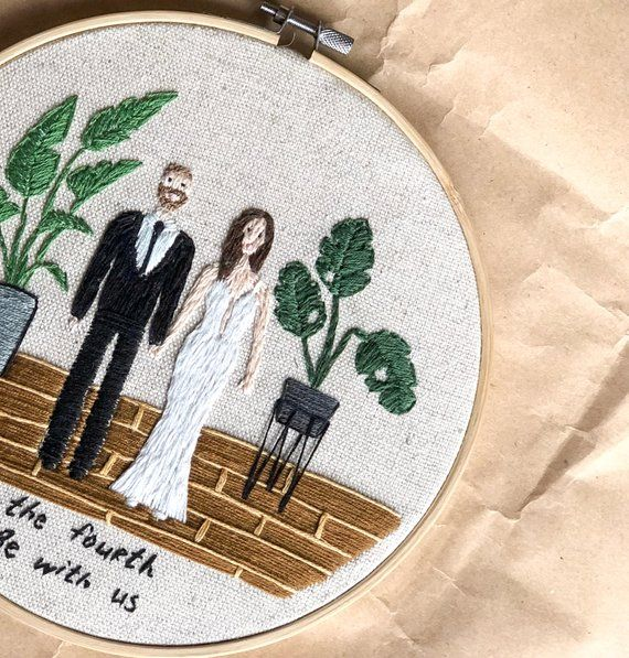 Wedding Gift Custom Hand Embroidery Portraits Engagement Gift Minimalist Style Personalized Gift