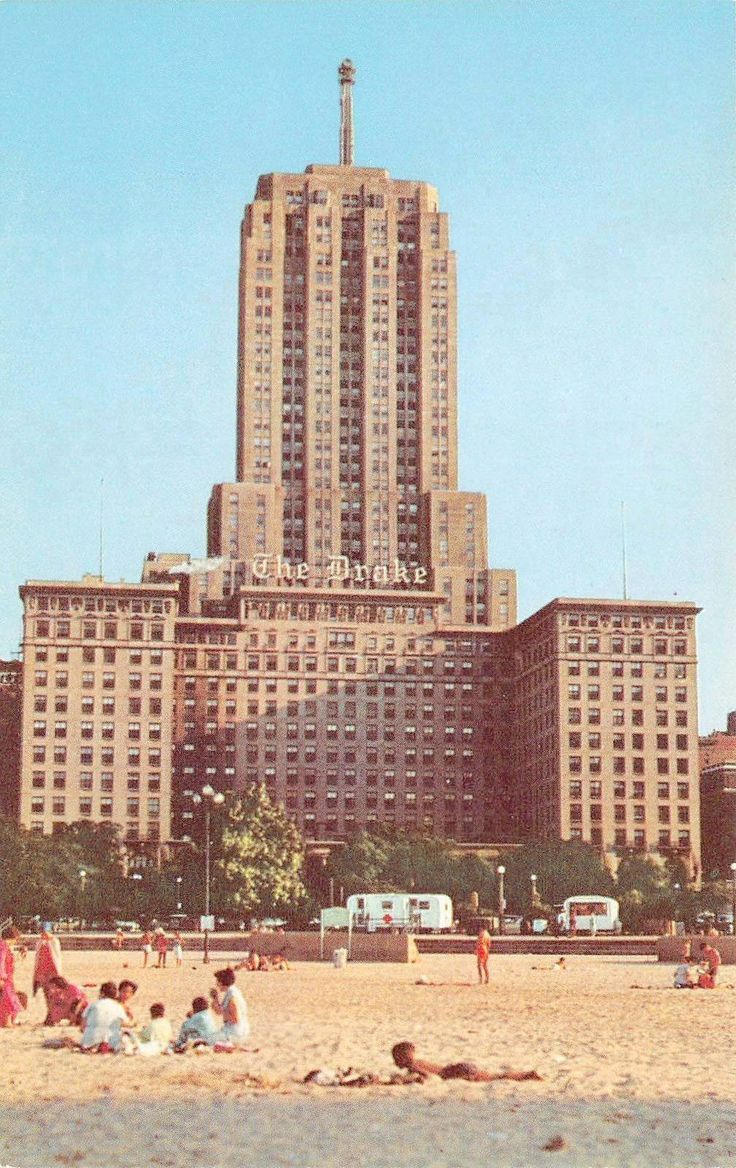 Spruce street beekman tower by frank gehry page 317 - Postcard Chicago Oak Street Beach Ground Level Drake Hotel Palmolive Building