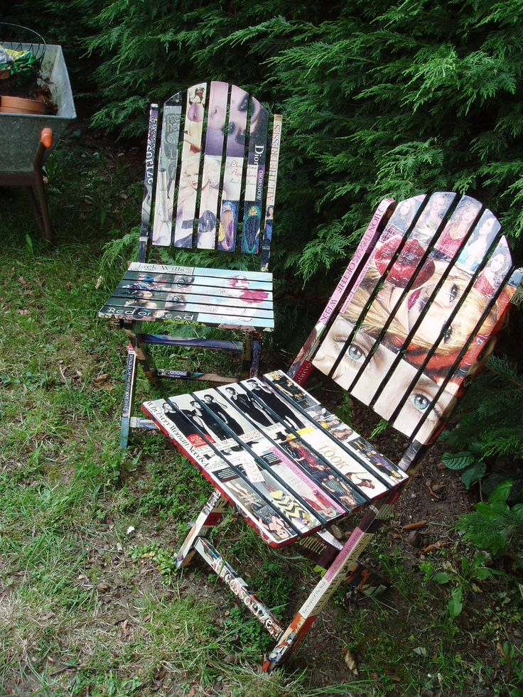 decoupage wooden garden chairs 20000 via etsy