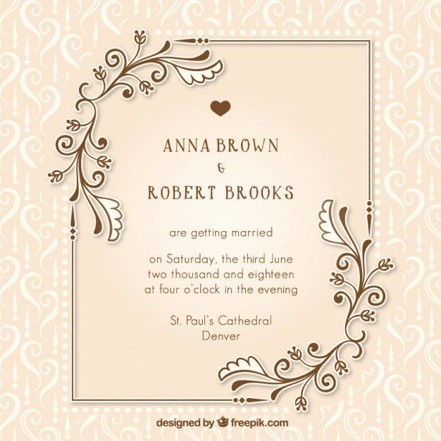 Wedding Invitation Free Download Unique Vintage Wedding Invitation Wi In 2020 Wedding Invitation Card Design Wedding Invitation Card Template Wedding Invitation Vector