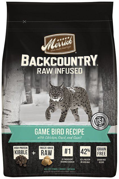 Merrick Backcountry Raw Infused brings an ancestral feline diet to your cat's dinner bowl with Game Bird Recipe with Chicken, Duck & Quail Dry Cat Food. Merrick starts with high-protein dry food and adds freeze-dried raw meat bites for pure nutrition that's full of flavor and easy to digest. The raw-infused recipe features an exotic blend of game bird protein from deboned chicken, duck and quail that will surely satisfy your cat's carnivorous cravings. It's got the convenience of raw with...