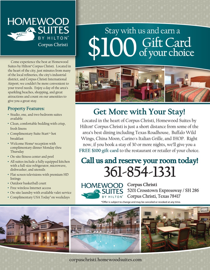 Special offer flyer designed for the #Homewood Suites by Hilton in Corpus Christi, Texas by #ATH Marketing. www.athmarketing.com