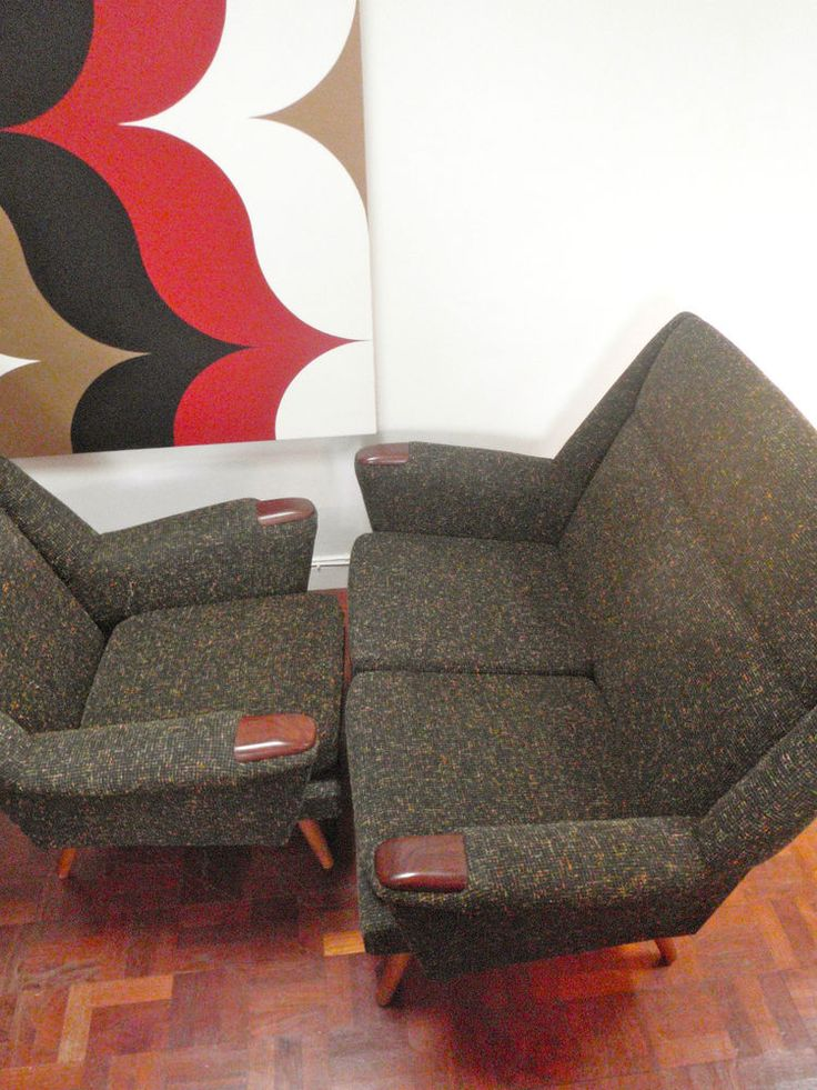 Vintage Two Seater Sofa U0026 Armchair Mid Century Danish Atomic 50 S 60 S Not  70