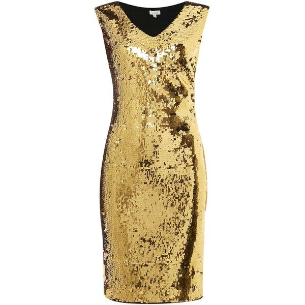 Untold All over beaded dress (£90) ❤ liked on Polyvore featuring dresses, gold, women, beaded dress, embellished shift dress, embellished dresses, zipper dress and cap sleeve cocktail dress