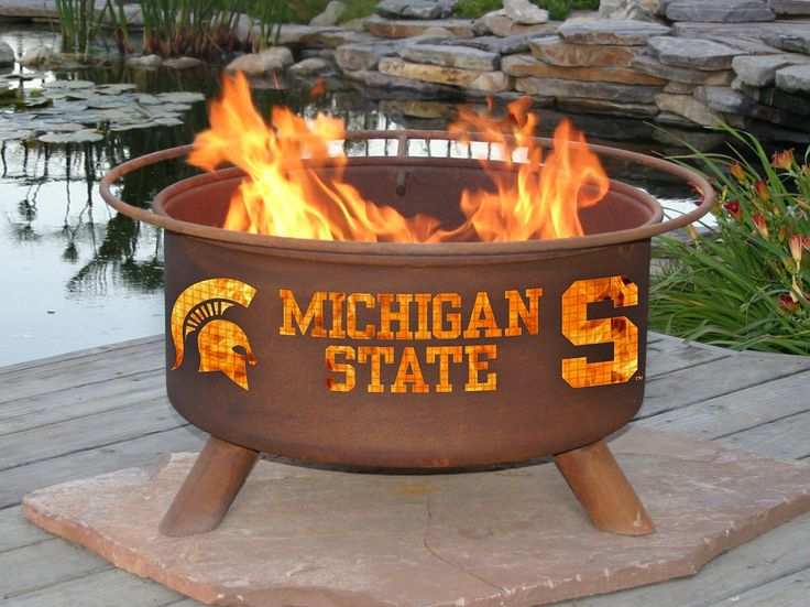 Michigan State Spartans NCAA Collegiate Fire Pit & Portable Tailgating Grill - Patina F403 (Portable Firepits and Tailgating Grills)