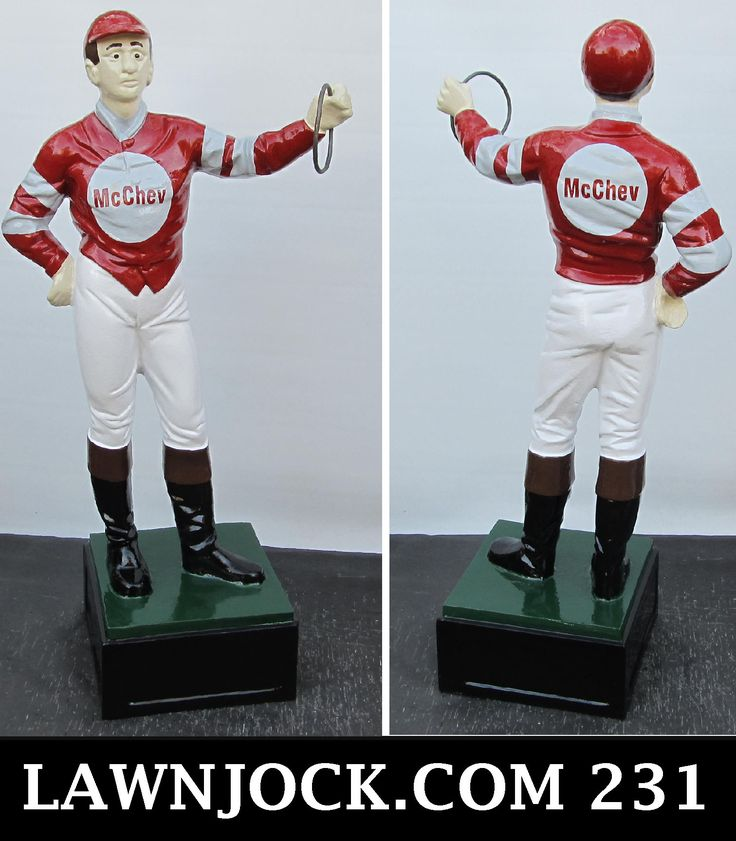 The traditional lawn jockey statue is taking back America's boring suburban neighborhoods one yard at a time. Your lawn is next! Want an REAL METAL jock professionally painted using 2 coats of high gloss enamel like this one shipped directly to your mansion in about 3 weeks? Visit lawnjock.com for a price quote today and reference custom example #231.