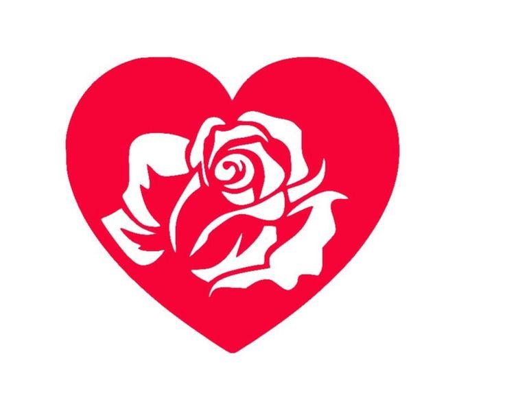 Bügelbild Rose und Herz aus Flex-Folie von Folienschnitt auf DaWanda.com