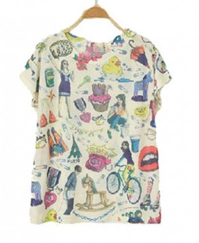 Vintage Print T-shirt with Crew Neckline