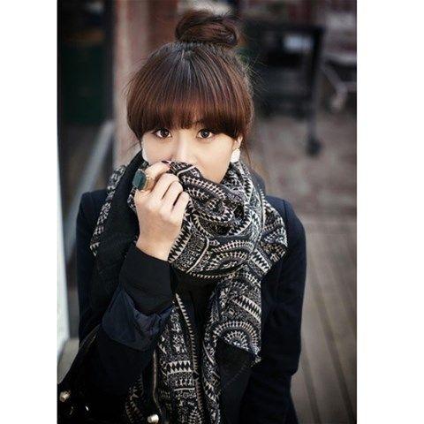 Patterned scarf - Black $3.47