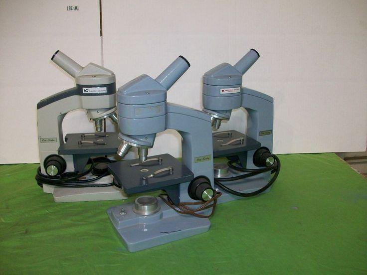 Qty 3 American Optical MICROSCOPES  One-Sixty  W/ 2 Objectives 10/.25 & 43/.55 #AmericanOpticalMICROSCOPES