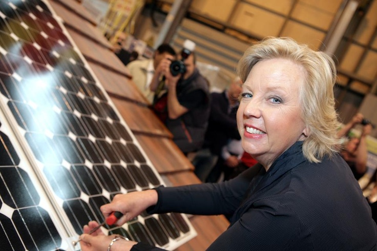 Deborah Meaden taking part in the solar roof demo with our client Ploughcroft